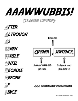 AAAWWUBBIS Subordinate Conjunctions Anchor Chart, Handouts & Activities