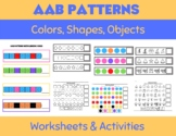 AAB Patterns-Colors, Shapes, &Objects (Summer Theme) Worksheets and Activities!