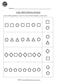 aab and abb patterns worksheets for kindergarten by little dots tpt