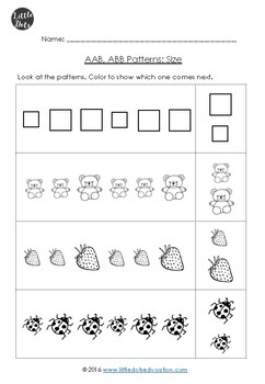 aab and abb patterns worksheets for kindergarten by little dots tpt. Black Bedroom Furniture Sets. Home Design Ideas