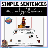AAC 3 Core Word Simple Sentences BOOM Cards Teletherapy No Print