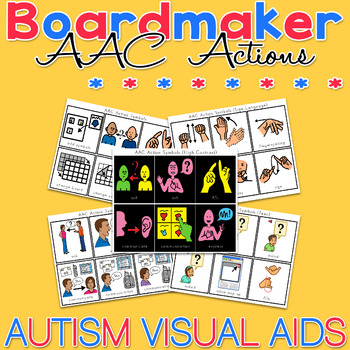 Aac Actions Symbol Cards Boardmaker Visual Aids For Autism And Aba