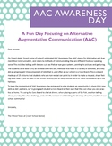 AAC Awareness Day Letter to Parents