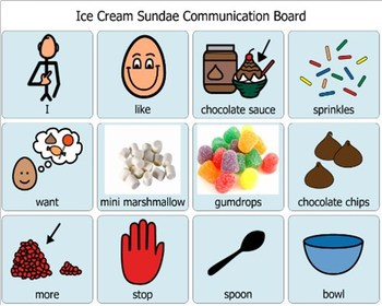 AAC Awareness Day Silent Sundae Communication Board