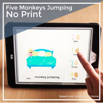 AAC Core Vocabulary Activities   No Print Speech Therapy   Five Monkeys Jumping