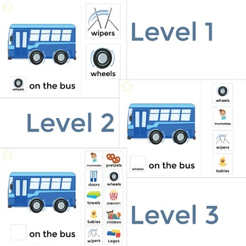 AAC Core Vocabulary Activities | No Print Speech Therapy | Wheels on the Bus