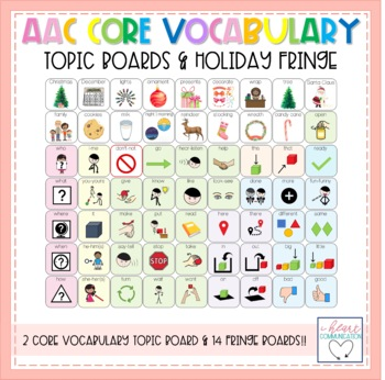 AAC-Core Vocabulary Topic Boards Craft & Holiday Pack