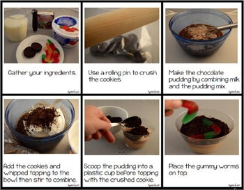 AAC, Core Vocabulary, WH Questions, Snacktivity: Dirt Cups