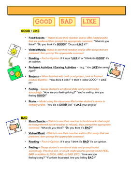 AAC Core Vocabulary of the Week - GOOD, BAD & LIKE