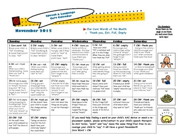 AAC Core Words November Calendar