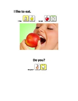 AAC Core Words book- I like and common verbs, items