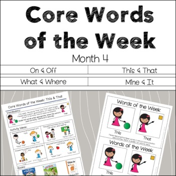AAC Core Words of the Week: 2 Words/Week - Month 4