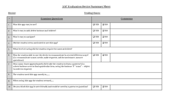 AAC Evaluation Data Sheets and Forms
