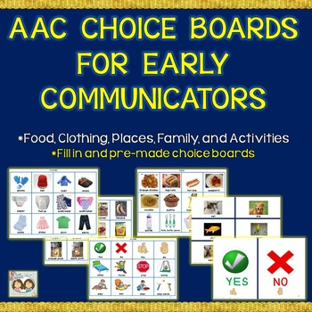 Speech Therapy: AAC Choice Boards: 375 Pictures & 50 Pre-m
