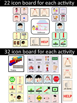 AAC Play-Based Communication Boards: Trains & Dollhouses