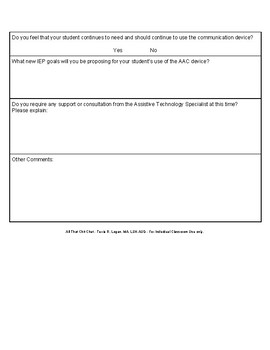 AAC - Pre-IEP Check-up Form for Teachers   FREEBIE
