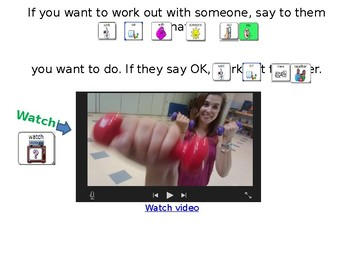 AAC Social Group Lesson: Working Out. Includes Video Models