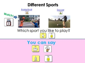AAC Social Group Lesson (Playing Sports) Includes Video Model & Visuals