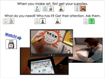 AAC Soical Group Lesson (Sharing - Making Art) Includes Video Model & Visuals