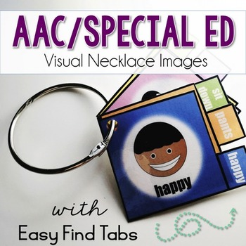 AAC/Special Ed Visual Necklace Images with Tabs