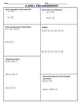 A.APR.1 Pre-Test/Assessment Algebra I Common Core Assessment