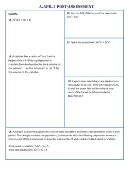 A.APR.1 Post-Assessment/Test Algebra 1 Common Core