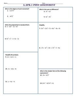 A.APR.1 Post-Assessment/Test Algebra 1 Common Core