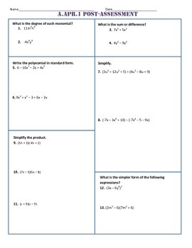 A.APR.1 Pre and Post Assessment/Test Algebra 1 Common Core
