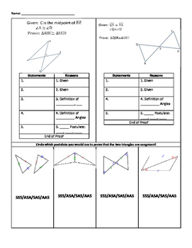 AAS, ASA, SSS, SAS Guided Notes and Practice Problems