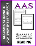 AAS Alabama Achievement Standards  RI 3.1 WH questions Informational Text