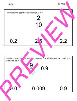 AAS Alabama Alternate Standards M 4.17 Fraction to Decimal Achievement Standard
