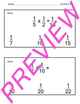 AAS Alabama Alternate Standards M 5.14 Multiply Fractions Achievement Standard