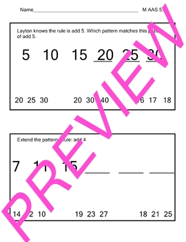 AAS Alabama Alternate Standards M 5.3 Patterns Achievement Standard