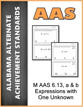 AAS Alabama Alternate Standards M 6.13 Expressions Variable Achievement Standard