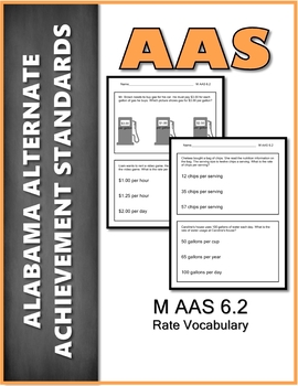 AAS Alabama Alternate Standards M 6.2 Rate Vocabulary Achievement Standard