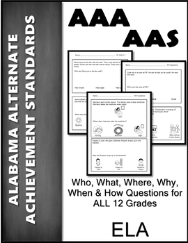 AAS Alabama Alternate Standards RL 3.1 WH Questions Achievement Standard AAA