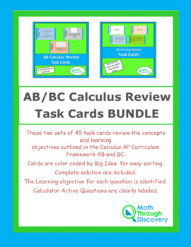AB/BC Calculus Review Task Cards BUNDLE