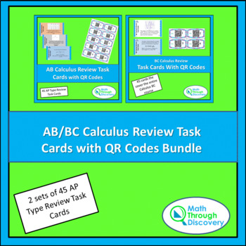 Calculus:  AB/BC Calculus Review Task Cards with QR Codes BUNDLE