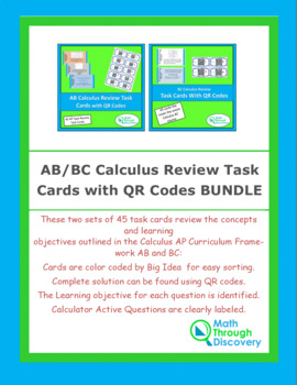 AB/BC Calculus Review Task Cards with QR Codes BUNDLE