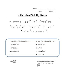 AB Calculus - End of Year Review Riddle and Key