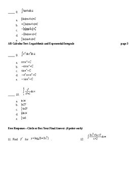 AB Calculus- Logs and Exponentials Integration