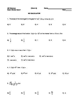 AB Exam Review Quiz 1