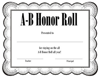 ab honor roll ab honor roll - B Honor Roll Certificate Template
