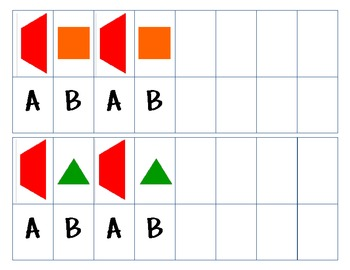 {AB Pattern Cards} with Unifix Cubes, Blocks, & Bears