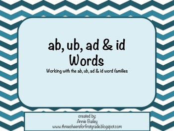 AB, UB, AD & ID Word Study Sort and Activities