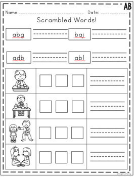 AB Word Family Activities and Worksheets *NO PREP* by Ginger Lettering