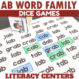 AB Word Family Dice Games for Centers or Small Groups