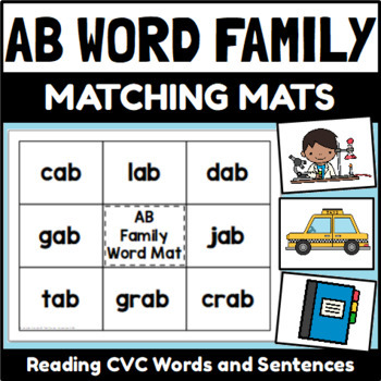 AB Word Family Word and Sentence Matching Mats