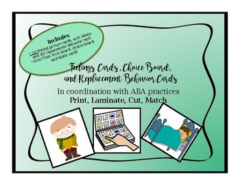 ABA Alligned Feelings Cards and Replacement Behavior Cards