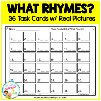 What Rhymes? Task Cards ABA Special Education